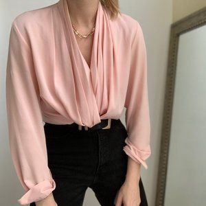 Vintage Blush Draped V Blouse